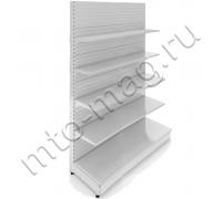 Торговый стеллаж металлический пристенный 2250х1250х500мм 5 полок (500мм-1шт,400мм-2шт,300мм-2шт)