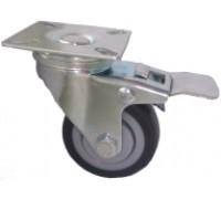 Колесо поворотное D=50мм Размер:50х50мм МЯГКАЯ СЕРАЯ РЕЗИНА (Арт.3054050М)