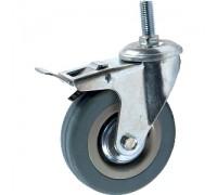 Колесо поворотное С БОЛТОМ М12 D=75мм СЕРАЯ РЕЗИНА (Арт.3064075М12)