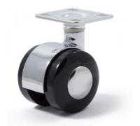Колесо мебельное поворотное D=40мм ЧЕРНЫЙ ПЛАСТИК + Хром вставка (Арт.6015050)