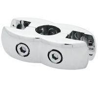 Крепеж-держатель панели и стекла на трубу (d=25mm), двусторонний. (Артикул: Jr-55.)