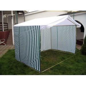 Палатка уличная Ширина: 2,5м Глубина: 2м Тент: Сине-Белый «ПОЛОСКА»