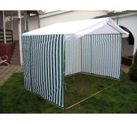 Палатка уличная Ширина: 3м Глубина: 2м Тент: Сине-Белый «ПОЛОСКА»